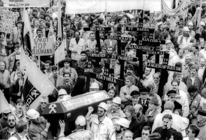 Bergarbeiterprotest in Duisburg, 1991