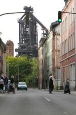 Blick von der Dieselstraße auf den Hochofen 4 der TKS